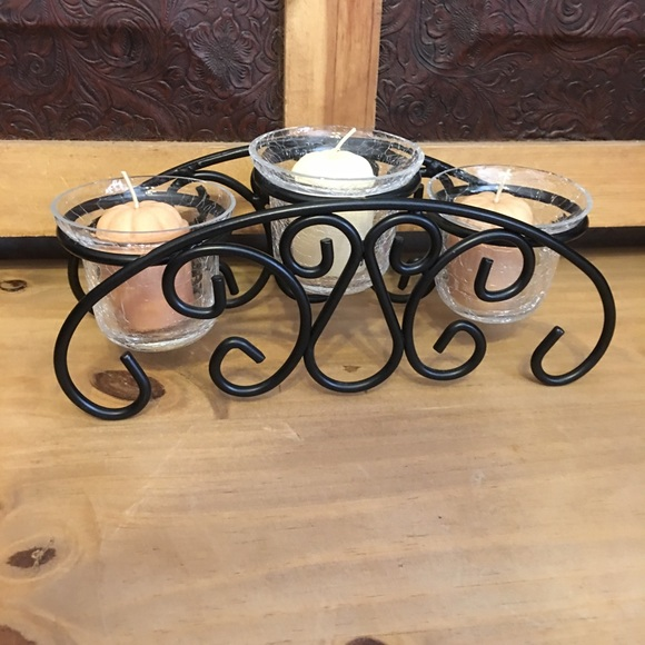 Iron scroll base crackled glass candle holder